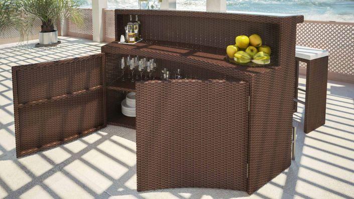 Flamario - Mesa bar de resina trenzada