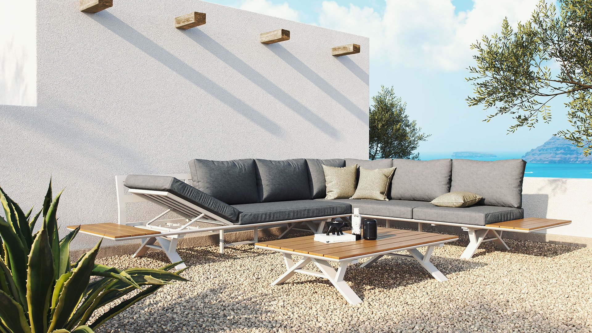 Juego de sofás que se puede usar también como tumbona